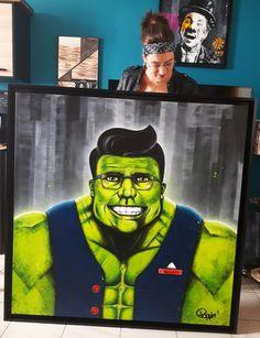 Acrylique/peinture/détournement/Hulk/Marvel/SmartHulk/beaugosse/classe/contemporain/peinture/réalisme/tableau/acrylique/illustration/graphisme/paint/poppix'/caisseaméricaine/encadrement/faitmaison 120x120cm Hulk Marvel, Joker, Painting, Illustration, Fictional Characters, Acrylic Board, Painted Canvas, Black N White, Graphic Design