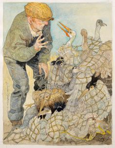 """""""The Stork and the Cranes"""", Original illustration from Aesop's Fables by Jerry Pinkney   R.Michelson Galleries"""