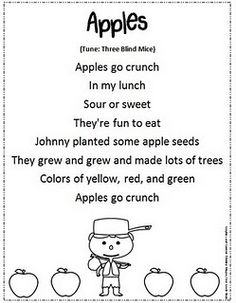 """Johnny Appleseed Song/Poem (Tune: """"Three Blind Mice"""")"""