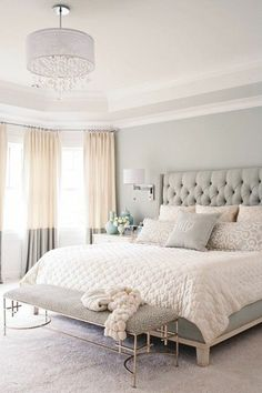 Master Bedroom With Pastel Color Grey Color Plus Bedroom Bench And Pendant Ligh Popular Bedroom Decorating With Pastel Color Ideas And Lighting Bedroom design Small Master Bedroom, Master Bedroom Design, Dream Bedroom, Home Decor Bedroom, Modern Bedroom, Master Bedrooms, Pretty Bedroom, Minimalist Bedroom, Summer Bedroom
