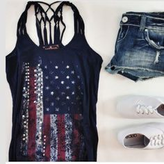EDGY AMERICAN FLAG TANK