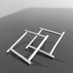 SQUARed hoop earrings simple sterling square post . asian