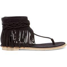 Matisse Juno Fringe Sandal (43.785 CRC) ❤ liked on Polyvore featuring shoes, sandals, black, matisse shoes, black sandals, black fringe sandals, kohl shoes and black fringe shoes
