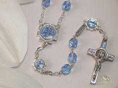 Ladies Blue Benedictine Rosary By Ghirelli