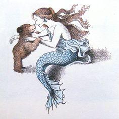 Little Bear and the mermaid. Illustration by Maurice Sendak. 'Father Bear Comes Home' • http://librarianbooksforchildren.blogspot.com/2012/05/maurice-sendakplease-dont-go-well-eat.html