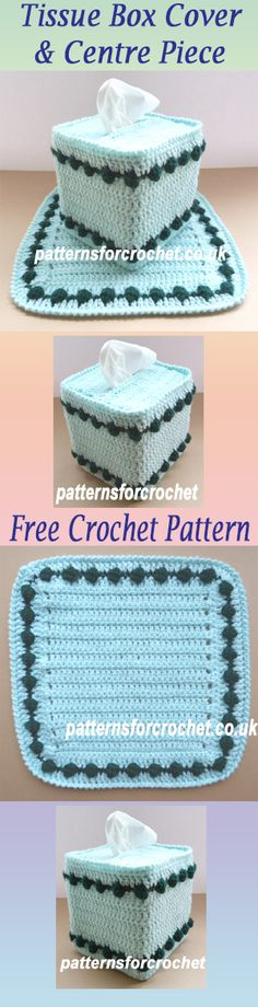 Free crochet pattern for tissue box cover and center piece. #crochet