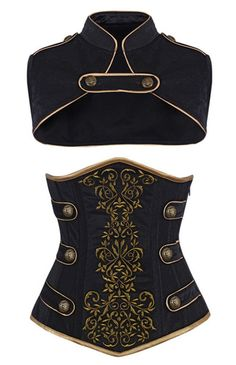 Camellias Women's Steel Boned Tamra Velvet Steampunk Corset, SZ2018-Black-S