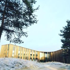 Sajos Cultural Center with first snow in Inari, Finnish Lapland.