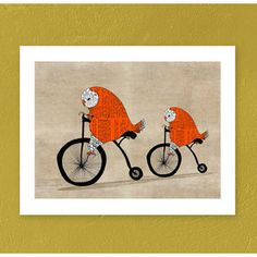 Vintage Bike print, Orange owl on a bicycle art poster, Owl art print, Owl illustration, Large original art painting by OrangeOptimist and other furniture & decor products. Owl Wall Art, Owl Art, Art Wall Kids, Wall Art Prints, Cute Owl Cartoon, Yellow Artwork, Owl Illustration, Kunst Poster, Bicycle Art