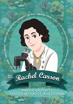 Rachel Carson Women in Science poster environmental movement | Etsy Katherine Johnson, Rachel Carson, Spring Starts, Biologist, Women In History, Change The World, Environment, Author, Science