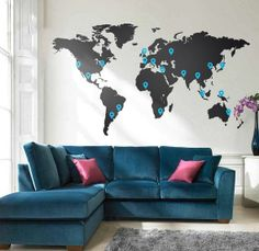 Muursticker Wereldkaart met Pin Points Wall Decal world map with pin points