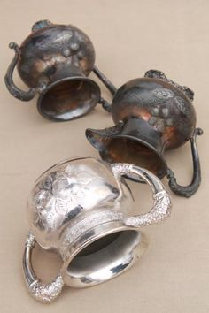antique Victorian vintage silver collection of cups & trophy shape urns in bright cut silverplate
