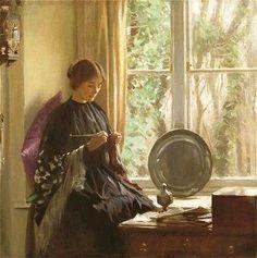 Harold Knight (English artist, 1874-1961) Knitting 1915