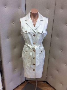 Milly Off White Button Down Sleeveless Safari Dress Size 10   eBay