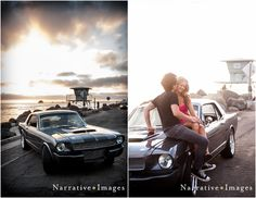 Kristy & Jeff's 1966 Mustang: Oceanside Pier engagement session. Photo by Narrative Images.