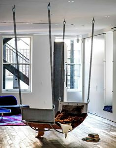 hanging lounger or sleeper for studio apartment or small space  #hangingfurniture #apartmenttherapy