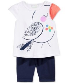 Vêtement original pour enfant / First Impressions Baby Girls' Bird T-Shirt & Bermuda Shorts Only at Macy's - Sets - Kids & Baby - Macy's Outfits Niños, Kids Outfits, Baby Girls, Toddler Girl, T Shirt Painting, Painted Clothes, Kind Mode, Fashion Kids, Baby Wearing
