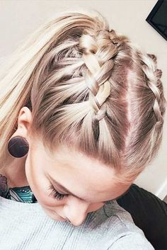 Double French braids into ponytail