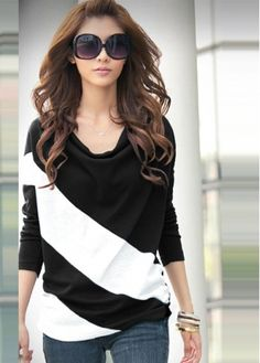 Black and White Color Blocking Cowl Neck Tees. Valentine Sale!  Free shipping!