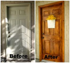 Faux Wood Painting Tutorial (Exterior Doors and Garage Door?) Honey I'm Home: A Faux Wood Painting Tutorial(Exterior Doors and Garage Door?) Honey I'm Home: A Faux Wood Painting Tutorial Painting Metal Doors, Faux Painting, Diy Painting, Painting Furniture, Metal Furniture, Painting Fiberglass Door, Bathroom Furniture, Diy Furniture, Painting Tricks