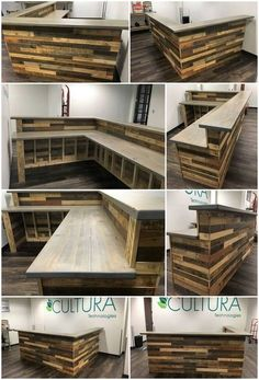 Wood Pallets L-Shape Desk / Counter and Bar Table Pallet Wood Projects and Ideas.Wood Pallets L-Shape Desk / Counter and Bar TableHave you been thinking about setting up with some bar busine Diy Bar, Diy Home Bar, Bars For Home, Bar Table Design, Bar Counter Design, Cafe Design, L Shaped Bar, L Shaped Desk, Home Bar Table