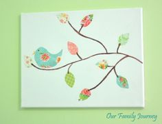 Bird Scene Scrapbook Canvas Art Inspired by Under the Sycamore from Our Family Journey