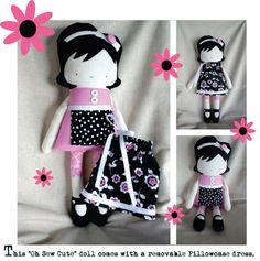 Stuffed Doll, Rag Doll, Fabric Doll, Cloth Doll, Handmade Doll, Soft Doll, Ragdoll, Soft Toy, Plush Doll. $110.00, via Etsy.