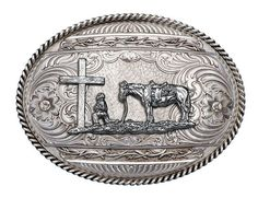 (MS6135RTS-731) Antiqued Barbed Edge Western Belt Buckle with Christian Cowboy