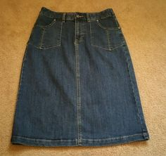 Christopher & banks Jean skirt size 4 mid calf blue denim in Clothing, Shoes & Accessories, Women's Clothing, Skirts | eBay