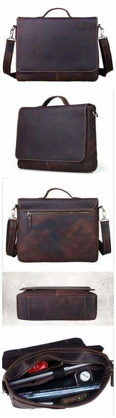 "Men's Vintage Leather Briefcase / Messenger / 13"" 14"" 15"" Laptop 13"" 15"" MacBook Bag"