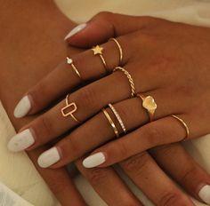 Heart Star Boho Finger Jewelry Ring Set