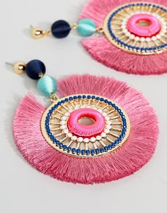 ASOS DESIGN Statement Tassel Fan Earrings at ASOS. Silk Thread Earrings Designs, Jewelry Design Earrings, Diy Earrings, Diy Fabric Jewellery, Thread Jewellery, Tassel Jewelry, Jewelry For Her, Trendy Jewelry, Bead Embroidery Jewelry