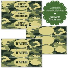 Free Printable Camouflage Water Bottle Labels from PrintableTreats.com