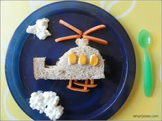 Creative kid snacks - helicopter sandwich
