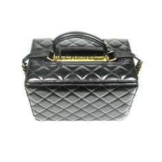 CHANEL VANITY BAG - BLACK QUILTED LEATHER COSMETIC BOX BAG GOLD