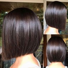 60 Beautiful and Convenient Medium Bob Hairstyles Sleek Blunt Brunette Bob A chic cut like this blunt bob is sure to have Demi approval. Flat-iron for a smooth sleek look. Minimal layering may give off a simple vibe, but this stunning cut is anything but. Bob Haircut For Fine Hair, Bob Hairstyles For Fine Hair, Medium Bob Hairstyles, Short Bob Haircuts, Hairstyles 2018, Haircut Bob, Hairstyle Short, School Hairstyles, Bob Hairstyles Brunette