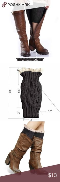 Crochet Dark Gray lace cuffs STOCKING STUFFERS 🤶DARK GRAY LACE BOOT CUFFS  boot cuff  are very cute. Cable knit bootie cuffs are topped with a pretty crochet lace trim. Not only are our womens sock warmers great looking. The material is very soft and makes these long cuff socks very comfortable to wear. Sometimes you just want a simple style to keep your legs warm. Use as a legwarmers, pull down for a scrunch sock look, pull up to thing as leg warmer or over your shoe for a boot look. Or…