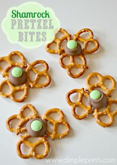 Shamrock Pretzel Bites from DimplePrints for St. Patrick's Day