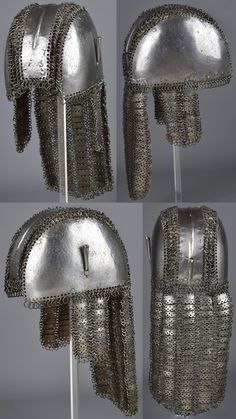 Indian mail and plate helmet, 17th to 18th century.
