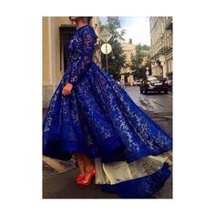 Long Sleeve Royal Blue Lace Maxi Dress ($26) ❤ liked on Polyvore featuring dresses, gowns, blue lace gown, blue maxi dress, long sleeve maxi dress, long sleeve evening gowns and royal blue gown