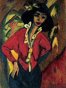 "expressionism-art: "" Gerda, Half-Length Portrait by Ernst Ludwig Kirchner via Guggenheim Museum Size: cm Medium: Oil on canvas Solomon R. Guggenheim Museum, New York Partial gift, Mr. Mortimer M. Ernst Ludwig Kirchner, Davos, George Grosz, Emil Nolde, Museums In Nyc, Messy Art, Expressionist Artists, Max Ernst, Colors"