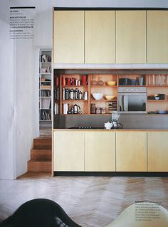Kitchen, laminate/ painted cupboard doors, timber inset shelving, parquetry