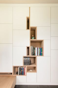 """With the popularity of bookshelves in the design, bookshelves have gradually become a display design for putting decorations and decorating the space mood. More and more families choose to install """"bookshelves"""" in the decoration process. Interior Architecture, Interior And Exterior, Interior Design, Canto Bar, Cabinet Design, Cabinet Space, Interior Inspiration, Shelving, Open Shelves"""
