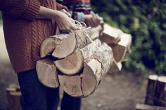 Dressed to Chill: Warm Throw: Some wood log cuttings