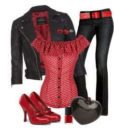 fashion, polka dots, red, cloth, style, outfit, bleeding hearts, shoe, shirt