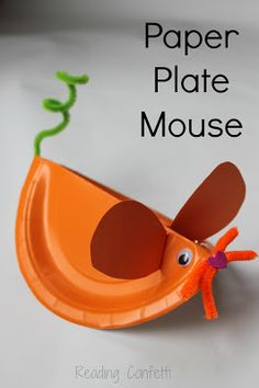 Reading Confetti's adorable paper plate mouse for the Virtual Book Club For Kids' May author, Leo Lionni