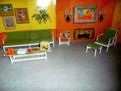 1964 BARBIE GO-TOGETHER LIVING ROOM FURNITURE SET w-ALL ACCESSORIES, 2 BACKDROPS