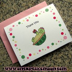 """turtle girl holding flowers thank you notes, notecards, greeting cards; birthday party, baby shower or everyday cards. does not have to have the """"thank you"""" on the front.  custom personalized - set of 10 handmade by OnCupcakeMoon"""