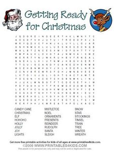 Ready for Christmas Word Search : Printables for Kids – free word search puzzles, coloring pages, and other activities Christmas Word Search, Christmas Puzzle, Christmas Words, Christmas Games, Christmas Activities, Kids Christmas, Christmas Countdown, Christmas 2019, Christmas Crafts