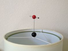 Atomic ORBIT Saturn ATOM Lamp Topper MOLECULE FINIAL Space ART SCULPTURE Mcm RED